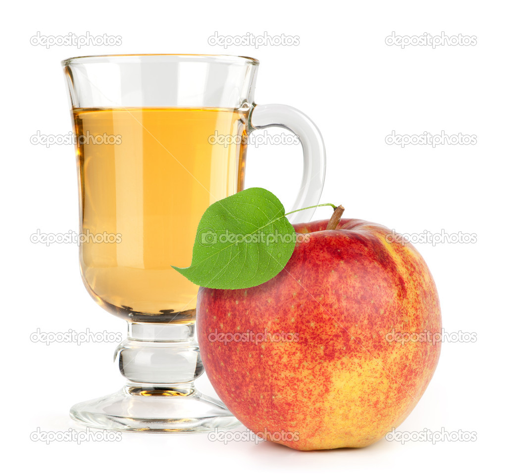 Red apple fruit with juice stock image