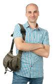 Szczęśliwy człowiek z torba — Zdjęcie stockowe