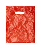 Close up of a orange plastic bag on white background with clippi — Stock Photo