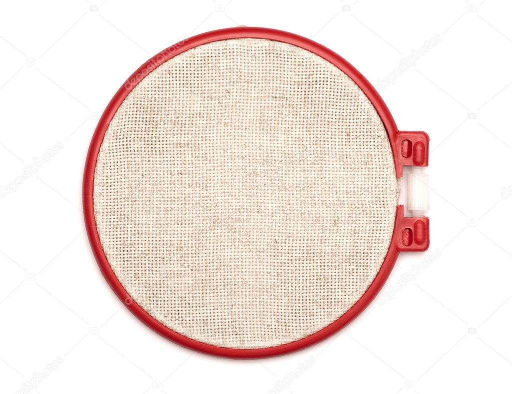 The embroidery hoop is on white background — stock