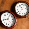 Stock Photo: Pair Of Clocks On Wood