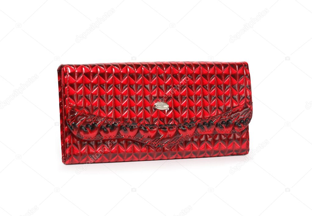 Nice red leather change purse on white background. Clipping path is included  Stock Photo #5629825