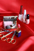 Makeup Set On Red — Stock Photo