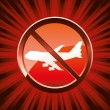 Warning ban flight - Stock Vector