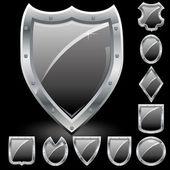 Black shields — Stock Vector