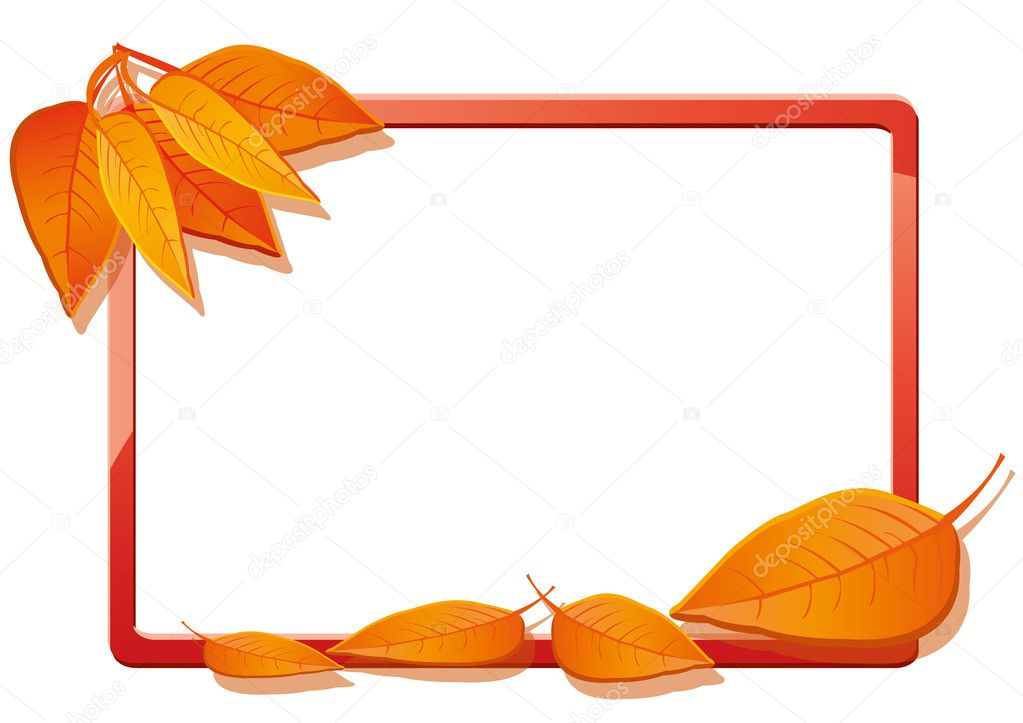 Autumn frame with orange leaves, vector illustration  Image vectorielle #6671951