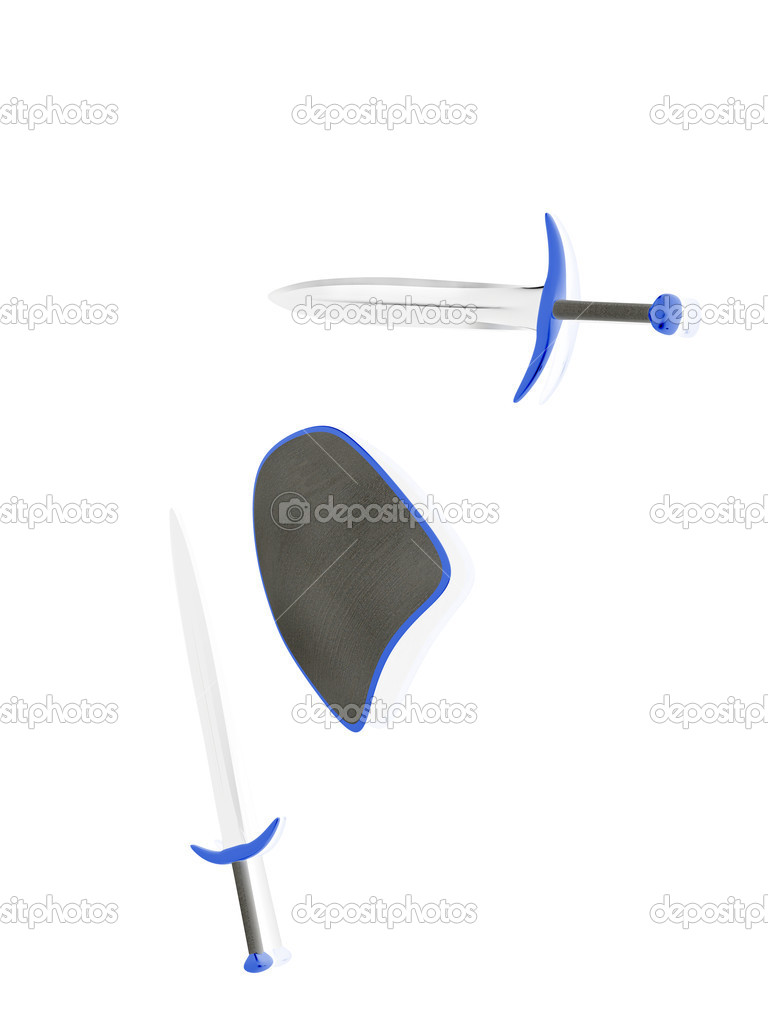Shield and two swords. 3d  Stock Photo #5840816