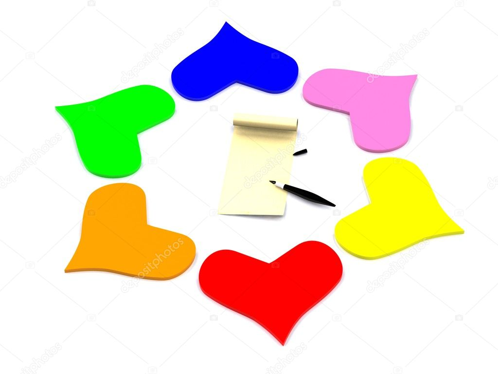 Hearts around letter. 3d — Stock Photo #6103755