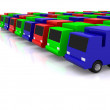 Stock Photo: Row of RGB cars. 3D