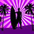 Illustration of surfer with surfboard and palms — Stock Photo #5883931