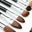 Professional make up brushes dry on towel — Stock fotografie