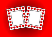 Two photo frames with hearts — Stock Photo