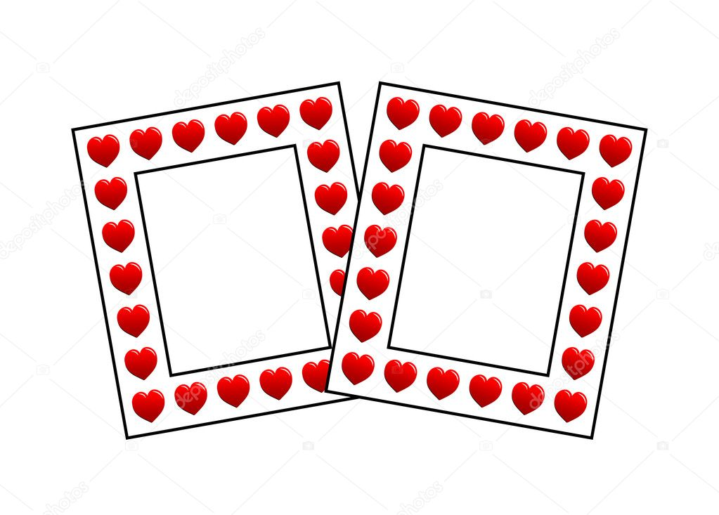 Illustration of two photo frames with hearts on white — Stock Photo #5883922