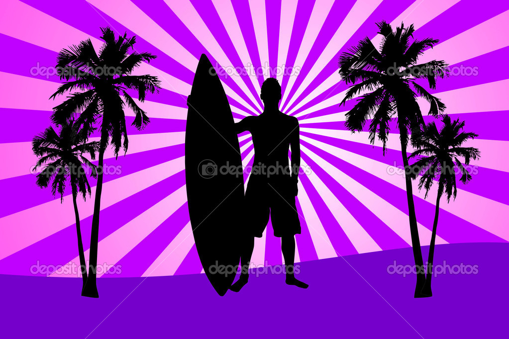 Silhouette of surfer with surfboard and palms on pink sunset  Stock Photo #5883993
