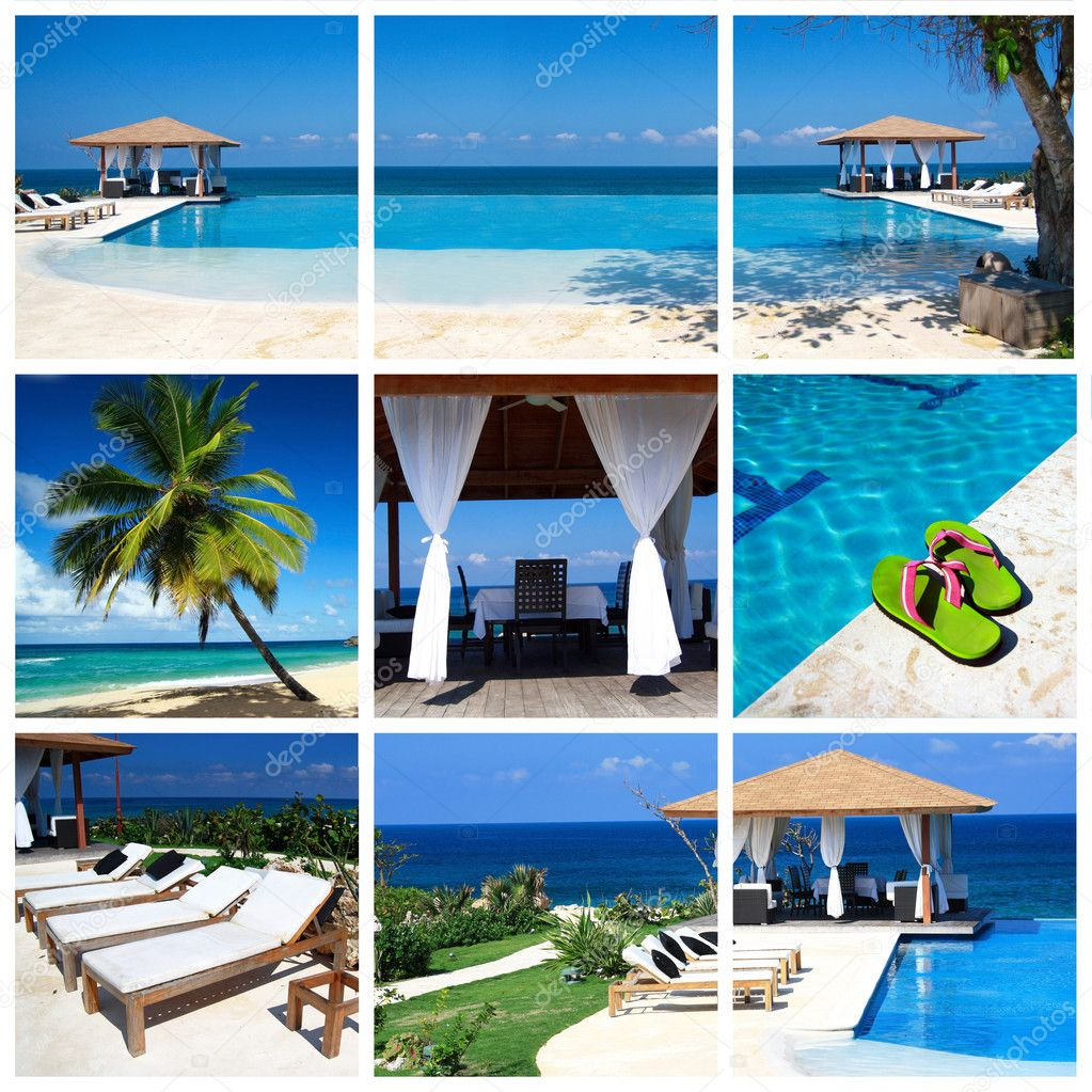Collage with luxury swimming pool and summerhouse  Stock Photo #5884050