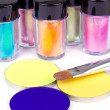 Tubes with professional colour pigment and make-up brush — Stock Photo