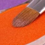 profesionální make-up kartáč na oranžové eyeshadows paletu — Stock fotografie