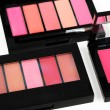 Palettes with lipgloss — Stock Photo