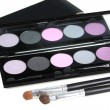 Eyeshadows pallete and two professional make-up brushes — Foto Stock