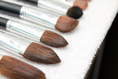 Make up brushes after washing on towel — Стоковое фото