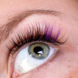 Green eye with creative artificial eye lashes — Foto de stock #6266089