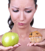Girl diet choice — Stock Photo