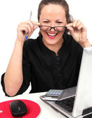 Smilling businesswoman with glasses in hands — Stock Photo