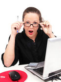 Wondered businesswoman with open mouth — Stock Photo
