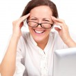 Happy businesswoman in glasses in office — Stock Photo