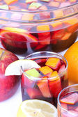 Cocktail sangria in glass bowl — Stock Photo