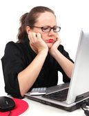 Sad businesswoman holding her head — Stockfoto
