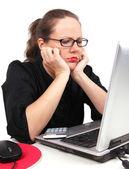 Sad businesswoman holding her head — Stock Photo