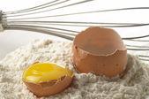 Flour, whisker and egg — Stock Photo