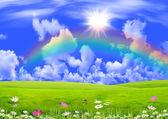 Rainbow in the dark blue sky — Stock Photo