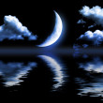 Half of moon in the dark blue sky — Stock Photo #5483628
