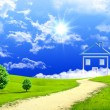 Stock Photo: New imagination of house on green meadow