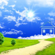 New imagination of the house on a green meadow - Stock Photo