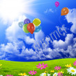 Color balloons in dark blue sky — Stock Photo #5987656