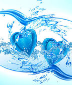 Two hearts from water — Stock Photo