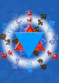 Astrological symbols with mystical circle — Stock Photo