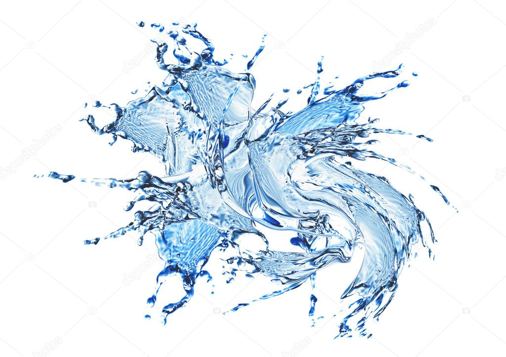 Blue water and water splash on a white background — Stock Photo #6682848