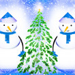 Two snowmen — Stockfoto