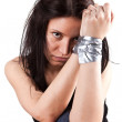 Kidnapped young woman — Stock Photo
