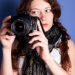 Beautiful woman-photographer — Stock Photo #5462602
