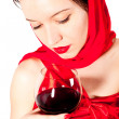 Woman with glass red wine — Stock Photo