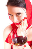 Woman with glass of red wine — Stock Photo