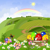 Easter clearing with a basket — Stockvector