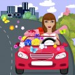 Car gift girl — Stock Vector