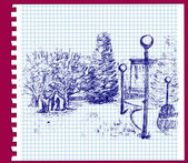 Spring park ink drawing in a notebook — Stock Vector
