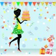 Fun birthday party with gifts — Stock Vector